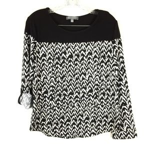 NY Collection Shirt Large Petite Black White Long